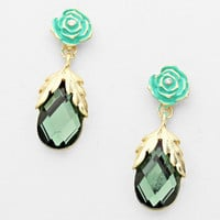 Rose Floral Gold Green Earrings