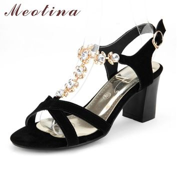 Moetin Shoes Women Rhinestone Sandals Summer Suede Genuine Leather Sandals High Heels Sandals Ladies Shoes Big Size 11 43 44