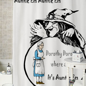 Auntie Em Wizard of Oz  special shower curtains that will make your bathroom adorable.