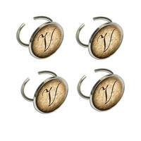 Letter V on Cork Design Napkin Ring Set