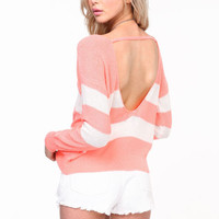 SCOOPBACK STRIPED SWEATER