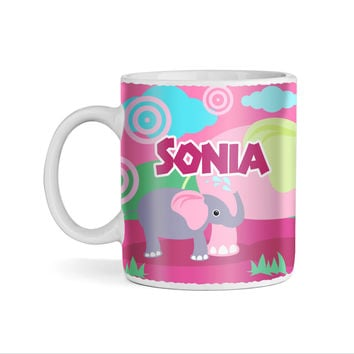 Elephant Party Pink Monogram 11oz Coffee Mug