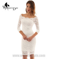 WomensDate High Quality 2017 Spring Women Slash Neck Long Sleeve Lace Dress Female Slim Hip Black White Pencil Mini Dress