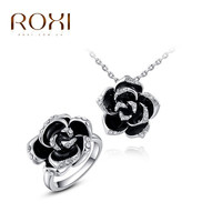 ROXI Elegant Statement White Color Black Rose Flower Sets Ring Necklace Fashion Jewelry For Women Engagement Wedding Jewelry