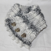 Handmade Cable Knit Cowl, Fishermans Wife Cowl, Neck Warmer, Knitted Cowl, Cable Knit Scarf, Made to Order, Color Grey Marble