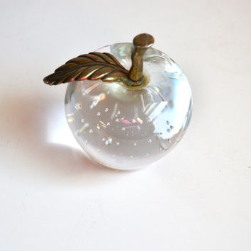 Vintage Glass Crystal Apple Glass Apple Paper Weight Fruit Paperweight Crystal Glass Controlled Bubble Glass Fruit