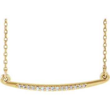 14K White .05 CTW Diamond Curved Bar Necklace
