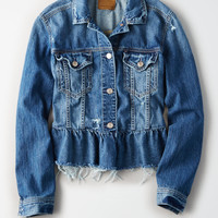 AE Ruffle Denim Jacket, Blue