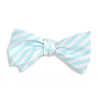 Sea Glass Stripe Bow Tie in Aqua by High Cotton