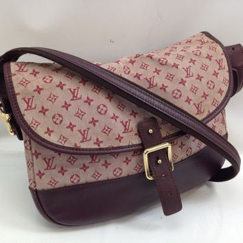 Auth LOUIS VUITTON Monogram Mini Canvas Bellanger Shoulder Bag Cherry 8C230200#