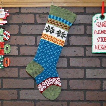 Personalized Christmas Stocking Hand Knit in Forest Green with Snowflakes and Hearts, colorful stocking, Fair Isle knit, Housewarming Gift