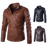 Slim Fit Men's Faux Leather Jacket