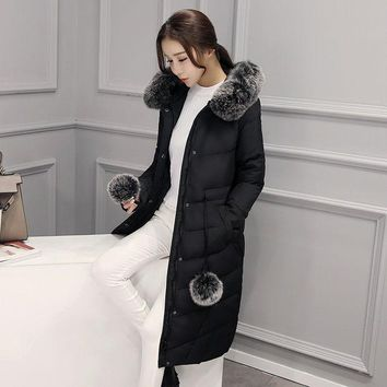 DCCKJG2 High Quality 2016 Winter Thick Large Real Fox Fur Collar Women Down Jacket White Duck Feather Women Long Down Doat  Ladies Parka