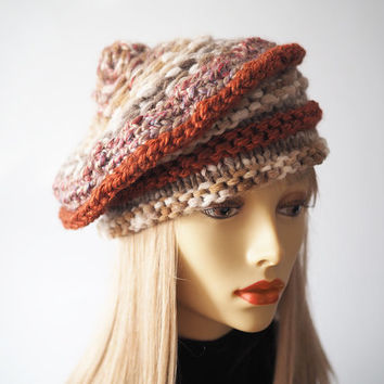 Ready to ship - Rust hat - Beige hat - Chunky fashion knit hat - Beehive multi hat - Slouchy beanie - Tan crochet tam - Woman winter hat