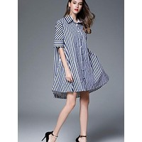 Striped Loose Women's Shirt Dress