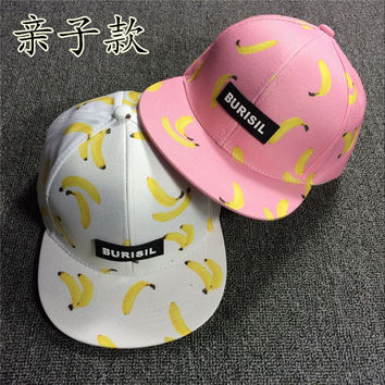 kids ananas baseball cap snapback casquette hat gorras Fruit series  boy girl Printed banana children Hip hop Baseball cap
