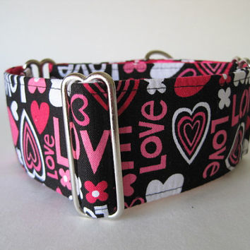 Love Martingale Collar, 2 inch Martingale Collar, Valentine Martingale Dog Collar, Hot Pink, Black, Sighthound Collar, Greyhound Collar