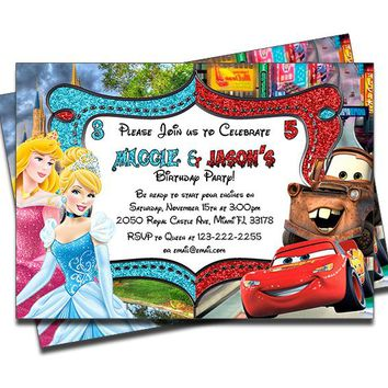Disney Princesses and Disney Cars - Double Birthday Invitations