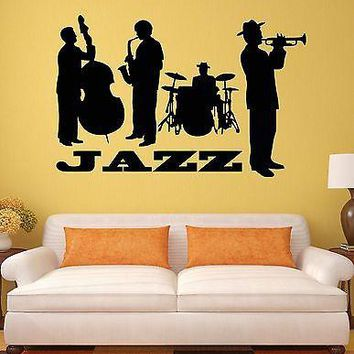 Wall Sticker Jazz Band Music Blues Music Lover Art Mural Vinyl Decal Unique Gift (ig1203)