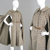 Vintage LANVIN HAUTE COUTURE 70s Maxi Cape Long Wool Cape Brown Houndstooth Print Designer Coat Fall Winter Coat Womens Outerwear Paris Coat