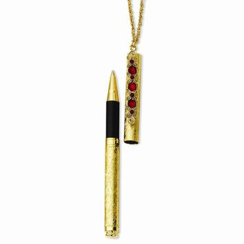 """Gold-tone Red Crystal 4.5"""" Pen on 30"""" Necklace"""