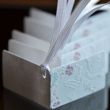 20 Embossed Wedding Doves and Flowers Gift Tags Paper Favor Tags Labels Ribbon