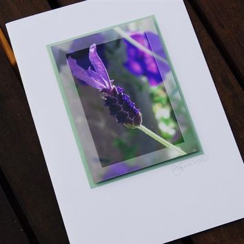 Lavender Print card 3D photographic art greeting card mothers day purple green Gift card