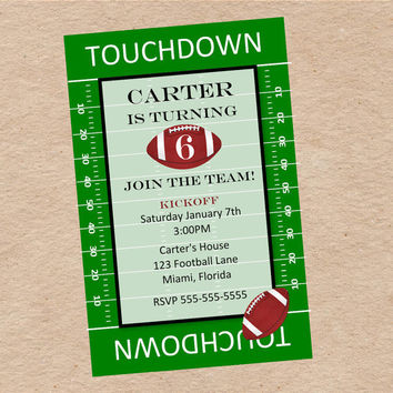 Football Party Invitation Birthday Tailgate by DecorableDesigns