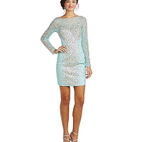 Glamour by Terani Couture Long Sleeve Beaded Sheath Dress