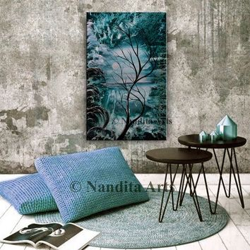 """Abstract Landscape Painting, 48"""" Large Ocean Art on Canvas, Seascape Abstract Tree Art, Landscape Art Nandita Albright"""