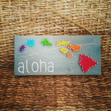 Rainbow Hawaiian Island String Art Sign, Rainbow State Aloha Wall Hanging, Ready to Ship Wooden Aloha Hawaiian Home Decor