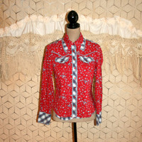 Calico Horse Print Red Blue Plaid Women Western Shirt Tailored Snaps Rodeo Cowgirl Country Western Clothing Horseshoe Medium Womens Clothing