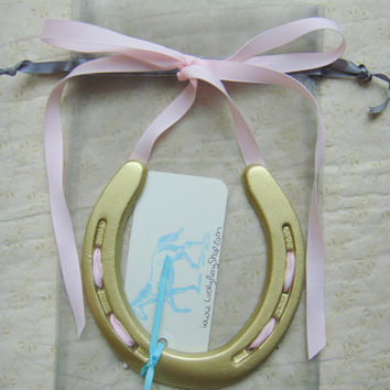 Lucky Hand Painted Gold Horseshoe w Pink Ribbon w Custom Gift Tag-Easter Gift