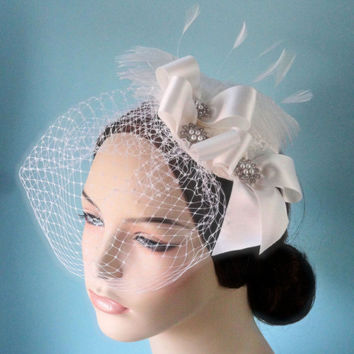 Bridal hat, head piece, ostrich feathers, French veiling, silk ribbon, rhinestones, headpiece CHANTAL