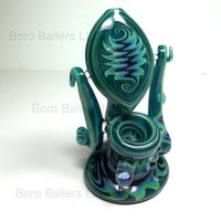 Glass Pipe, Heady Glass Pipe with Opal, Paul Brehm, Hand Blown Cgge Team, OOAK