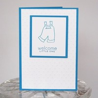 Blue Overalls Congrats on the New Baby Boy Hand Made Card