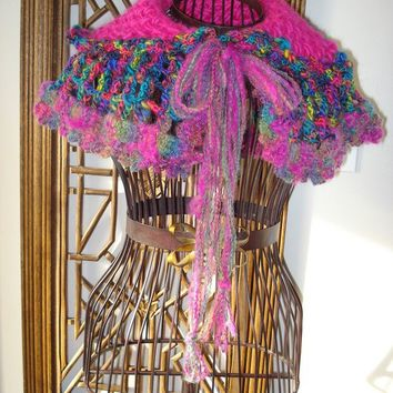 READY TO SHIP/ Gloriosa Handspun Crochet and Knitted Neck Warmer/ Scarflette / Collar /Cowl / Wrap / Scarf / Cape in multicolor soft wool