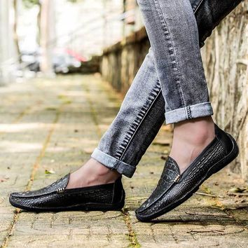 Men's Leather Black Slip-on Loafers