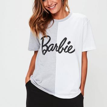 Missguided - Barbie x Missguided White Spliced Barbie T Shirt