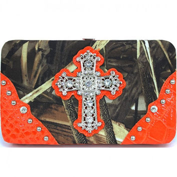 Realtree Camouflage Wallet w/Rhinestone Cross - AW251A