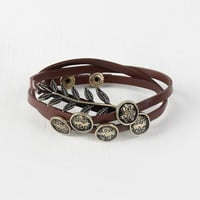 Leaf Vegan Leather Wrap Bracelet