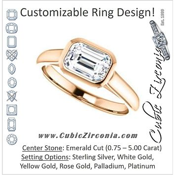 "Cubic Zirconia Engagement Ring- The Ann Michelle (Customizable Cathedral-Bezel Emerald Cut 7-stone ""Semi-Solitaire"" Design)"