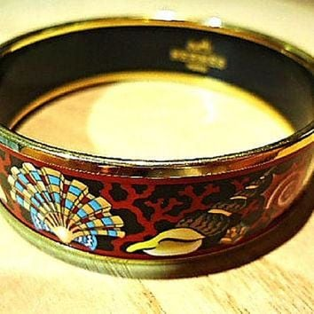 ONETOW Vintage Hermes cloisonne enamel golden thick bangle, bracelet with ocean, black sea,