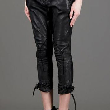 LE CUIR PERDU Cropped Leather Pants, IT 40 / US 4