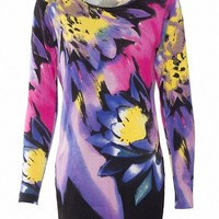 MapleClan Women's Printed Pullover Long Knit Top Graffiti Flower