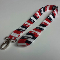 Stars and Stripes Patriotic Lanyard Fourth of July Fabric Lanyard ID or Badge Holder Womens Accessories Keys Lanyard Keychain