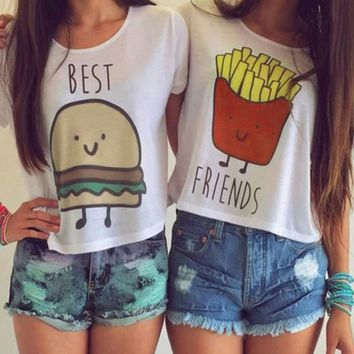 1PC Casual Crop Tops Women 2016 Summer Round Neck Best Friends Print T Shirts Fashion Short Sleeve Printed Shirt Female W295