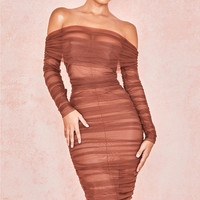 Clothing : Bodycon Dresses : 'Anais' Chestnut Tulle Off Shoulder Ruched Dress