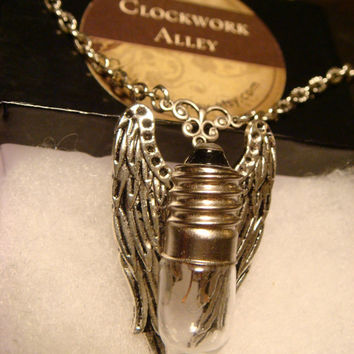 Steampunk Flying Light Bulb with Silver Angel Wings Necklace (1508)
