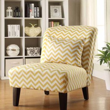 Chelsea II collection white and yellow chevron pattern printed fabric upholstered accent chair with wood legs